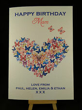 Personalised Hand Made Ladies Butterfly Birthday Card-Mam,Daughter,Sister,Friend