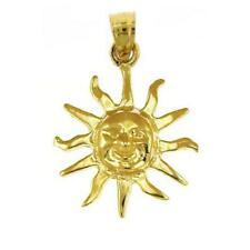 14k Yellow Gold SUN Pendant / Charm, Made in USA