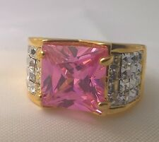 G-Filled Ladies 18k gold simulated diamond pink sapphire ring square bling 9.9gm