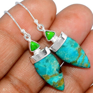 Blue Mohave Turquoise - Arizona 925 Sterling Silver Earrings Jewelry BE1556