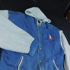 IOmega Blue Denim Varsity Jacket Coat Gray Hoodie All in One Sz L Zip Drive