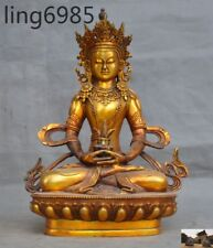 Old Tibet Buddhism Bronze Gilt Sit Amitayus longevity God Goddess Buddha Statue