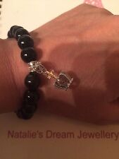 Stunning Jewel Encrusted Crown Charm Bracelet With Faux Black Pearls
