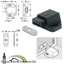 Magnetic Pressure Catch Morticed Push Catch Black Finish cupboard door FREEPOST