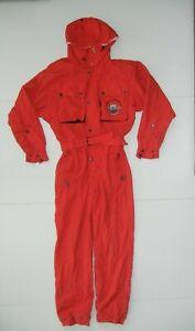 Vtg 90s HEAD Bright Red Nylon RAIN SUIT Ski Snowboard Jacket Coat Pants Men's M