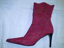 Roland Cartier Ladies Stivali tacchi in camoscio rosso indossata una volta & IN OTTIME C 41 UK 8