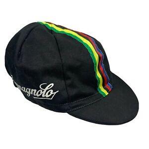 campagnolo cycling cap. Black With White Logo. Multi Colored Center Stripe.