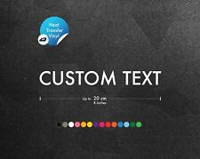 Iron On Heat Transfer Vinyl Text - Personalised Decal Graphic Vinyl Fabric