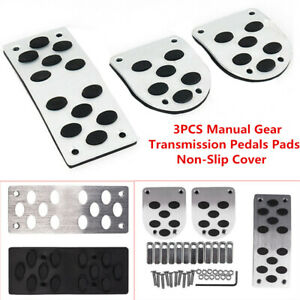3PCS Manual Gear Pedals Pads Car Gas Brake Metal Pedal Non-Slip Rubber Cover