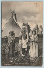 Postcard Native American Indian Chief Wau Ko Ma Squaws & Papoose 1909 B41