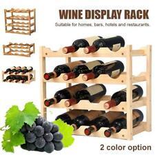 Wooden Wine Rack Tabletop Bottle Holder Storage Stand Champagne Stack 2/3/4Tier-