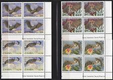 ZAMBIA Sc 466 - 69 MNH BLOCKS of FOUR - BATS - LOOK!