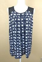 Faith and Joy Womens Top Size XL Blue Black Checked Sleeveless Light Weight