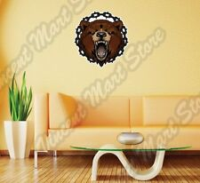 """Grizzly Bear Head Angry Chains Wild Life Wall Sticker Room Interior Decor 22"""""""