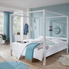 Himmelbett massiv in weiß lackiert 140x200cm Einzelbett Jugendbett Gästebett