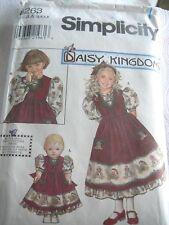 Girl 3 4 5 6 Daisy Kingdom Dress Pinafore Doll Sewing Pattern Simplicity 8263 **