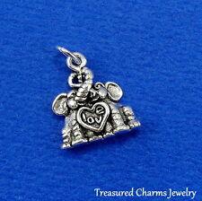 .925 Sterling Silver LOVE ELEPHANTS Elephant CHARM PENDANT