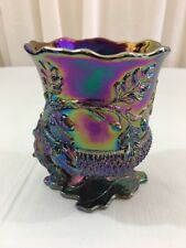 ACORN & OAK LEAF Open Spooner Amethyst Carnival Glass Footed Spoon Holder