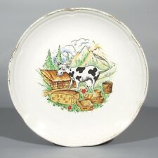 Vintage French Plate, Cow, Barn & Cheese in the Alps, Orchies, Moulin des Loups