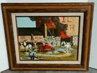 """H. HARGROVE SERIAGRAPH PAINTING VINTAGE SIGNED BARN FIRE, FIRE TRUCK 22"""" x 18"""""""