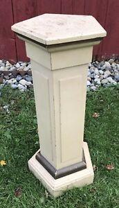 Antique Pentagon Shaped Vtg 20s 30s Orig White Paint Art Pedestal Plant Stand