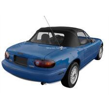 Mazda Miata Convertible Top, Fits 1990-2005, Plastic Window and Rain Rail, Black