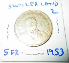 Switzerland 5 Francs Silver 1953 William tell  Shield flanked by Sprigs #2
