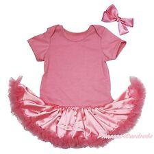 Plain Dusty Pink Bodysuit Girls Baby Dress Jumpsuit Romper Outfit Set NB-18Month