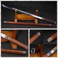 FULL TANG JAPANESE SAMURAI SWORD NINJA KATANA STRAIGHT KNIFE ROSEWOOD SHELL#0127