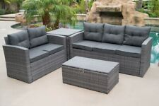4Pcs Patio Rattan Wicker Furniture Set Sofa Loveseat Cushioned w/ Storage Box