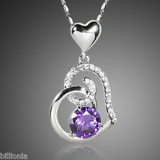 New Platinum Swarovski Elements Crystal Rhinestone Purple Heart Necklace Pendant