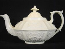 Porcelainous Smear Glaze Gray-White Stoneware Relief Mold Teapot early 19th c