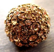 bague imposante bijou vintage couleur or pavé cristaux diamant roses Taille 52
