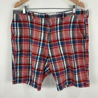 J Crew Mens Shorts Size 36 Red Blue Plaid Zip Closure Chino Pockets