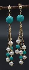#BE-184 New 14K Solid Gold Natural Turquoise & Pearl Chandelier Dangle Earrings