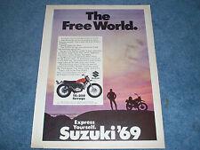 "1969 Suzuki TS-250 Savage Vintage Ad ""The Free World."""