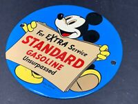 "VINTAGE MICKEY MOUSE STANDARD GASOLINE 6"" PORCELAIN ADVERTISING GAS & OIL SIGN"