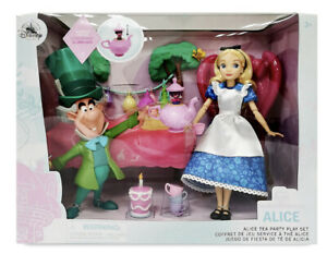 Disney Store Alice In Wonderland Mad Hatter Classic Doll Tea Party Play Set
