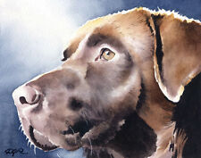"""CHOCOLATE LAB Watercolor 8"""" X 10"""" Art Print Signed by Artist DJR"""