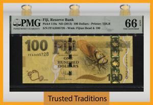 TT PK 119a ND (2013) FIJI RESERVE BANK 100 DOLLARS PMG 66 EPQ GEM UNCIRULATED!