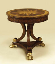 Maitland-Smith 8114-30  Carved Mahogany Round Occasional Table, Gilded Feet New!