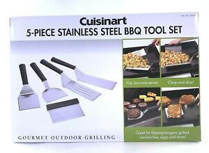 Cuisinart 5-Piece Stainless Steel BBQ Tool Set for Outdoor Gourmet Grilling NEW