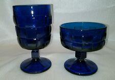 2 COBALT BLUE CHUNKY GLASS BASKET WEAVE GOBLETS