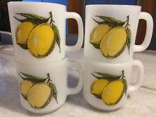 SET of 4: Vintage Glasbake Glassbake Lemons Mug/Cup Milk Glass STACKABLE USA!!