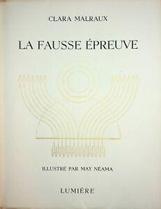 🌓 CLARA MALRAUX La Fausse Épreuve illustré par MAY NÉAMA éditions Lumière 1946