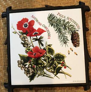 Vintage Marjolein Bastin Footed Tile Trivet Ceramic Cast Iron Base Pine Anemone