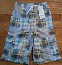 NEW Gymboree Pull On Plaid Cargo Shorts  Boys Size 5 NWT
