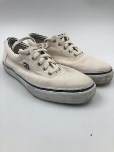 Sperry Top Sider Mens Canvas Shoes Size 10.5M White cream Lace Up Deck Shoe