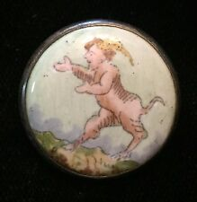 AMAZING SCARCE ANTIQUE PICTORIAL PAINTED ENAMEL BUTTON W/ SATYR FABULOUS CREATUR