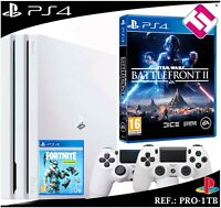 PS4 PLAYSTATION 4 PRO 1TB BLANCA 2 MANDOS BLANCOS STARWARS BATTLEFRONT 2 FORNITE